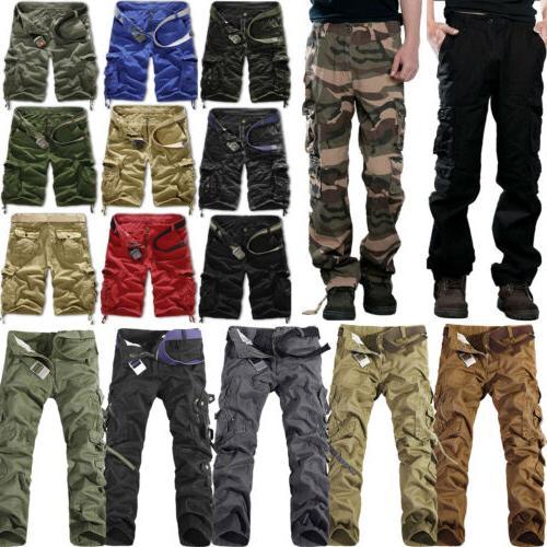 Mens Camo Work Pants Tactical Pockets