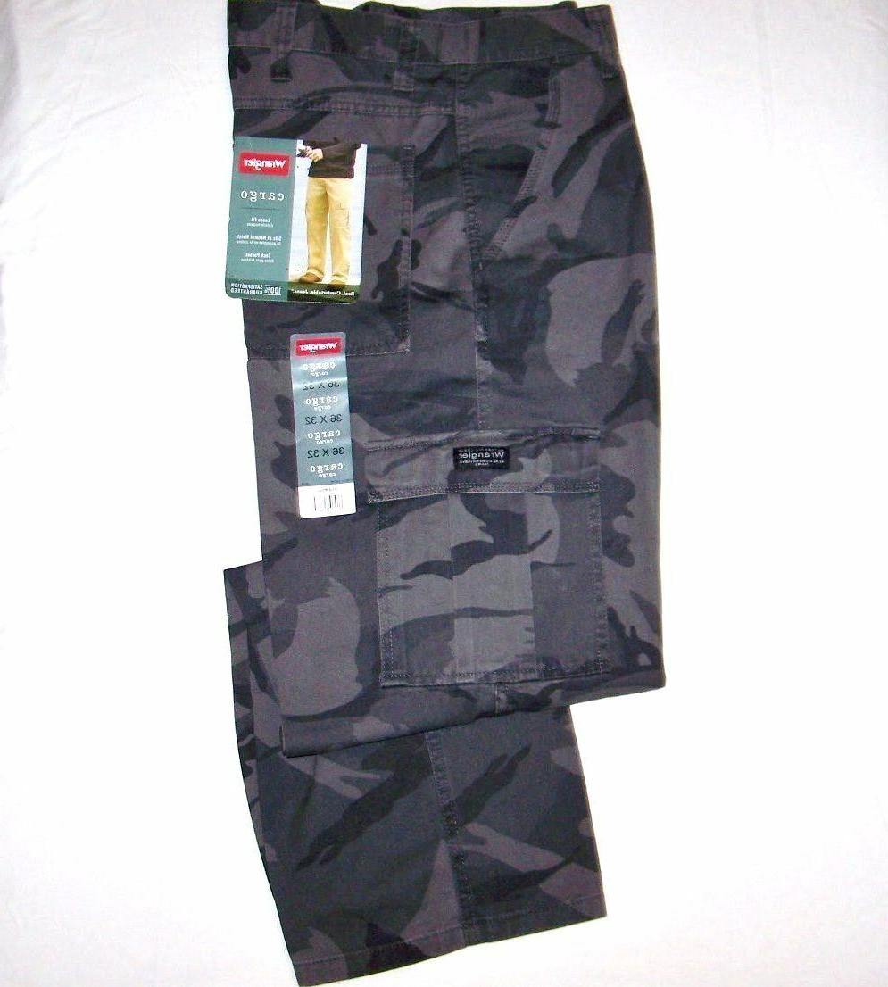 Men's Wrangler Camouflage Legacy Cargo Pants Relaxed Fit Str