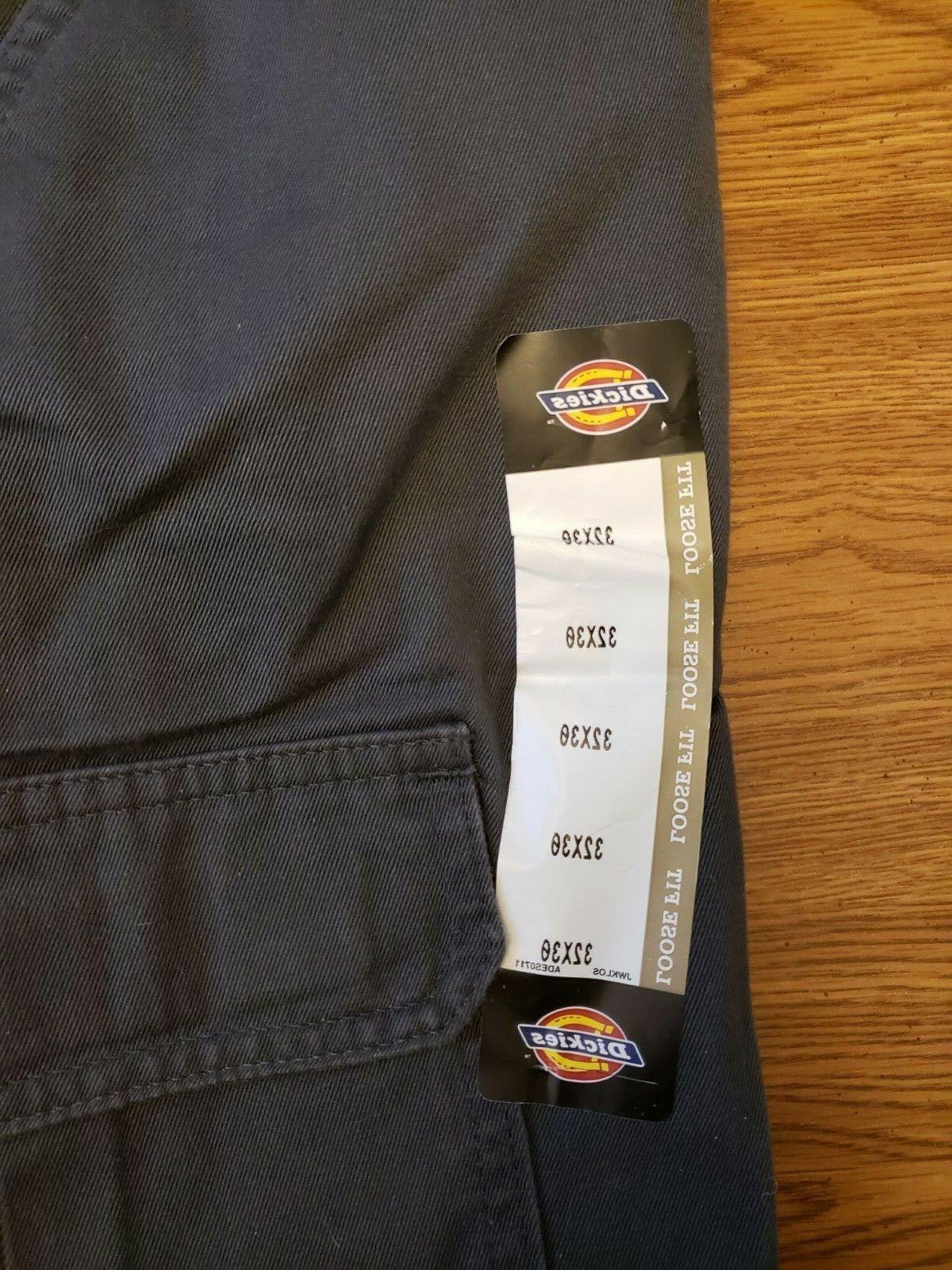 Dickies Men's Cargo Pants Loose Fit Rinsed Charcoal Gray New