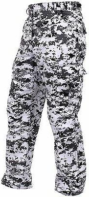 Men's City Digital Camo BDU Cargo Pants - Black & White Camo