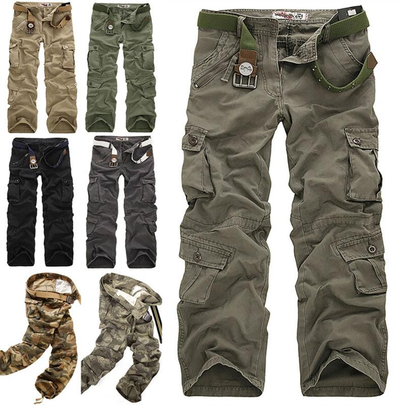 Men's Cargo Combat Work Trousers Army Military Camo Outdoor