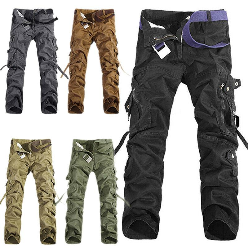 Men Cargo Work Casual Trousers Military Bottoms