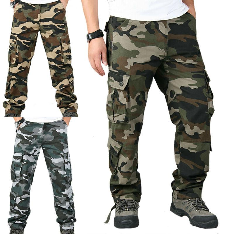 Mens Camo Combat Tactical Cargo Army Military Work Pants Cam