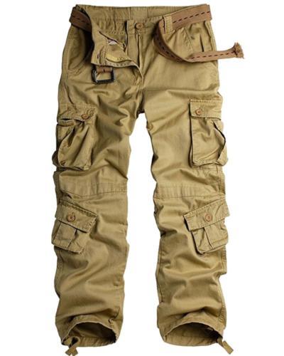 Jessie Kidden Men's Cotton Cargo Trousers Loose Hiking Multi