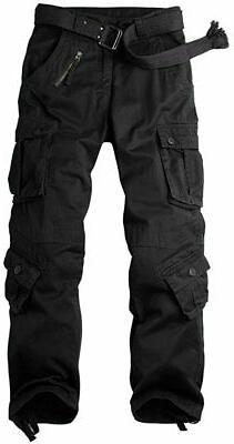OCHENTA Men's Cotton Military Cargo Pants, 8 Pockets Work Co
