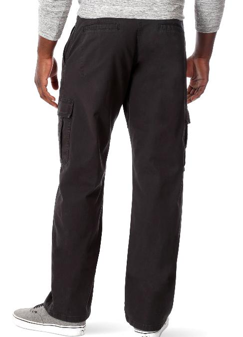 Men's FLEX Cargo Pants Relaxed Fit Black Flat Cotton SIZES 34-52