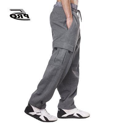 PRO 5 Men's Heavy Weight Fleece Cargo Pants Gym Work Pants D