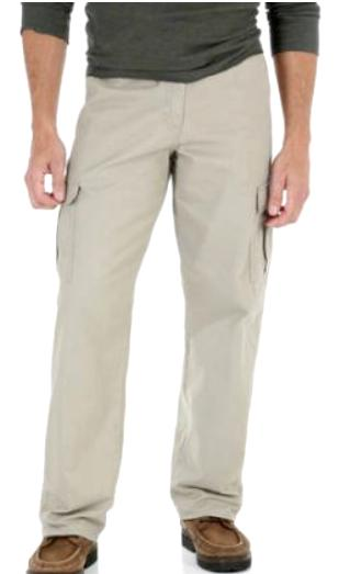 Men's Wrangler Khaki Legacy Cargo Pants Relaxed Fit Straight