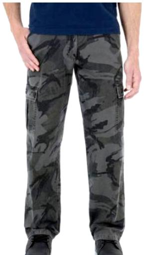Mens Wrangler Legacy Cargo Pants Camo Relaxed Fit Straight C