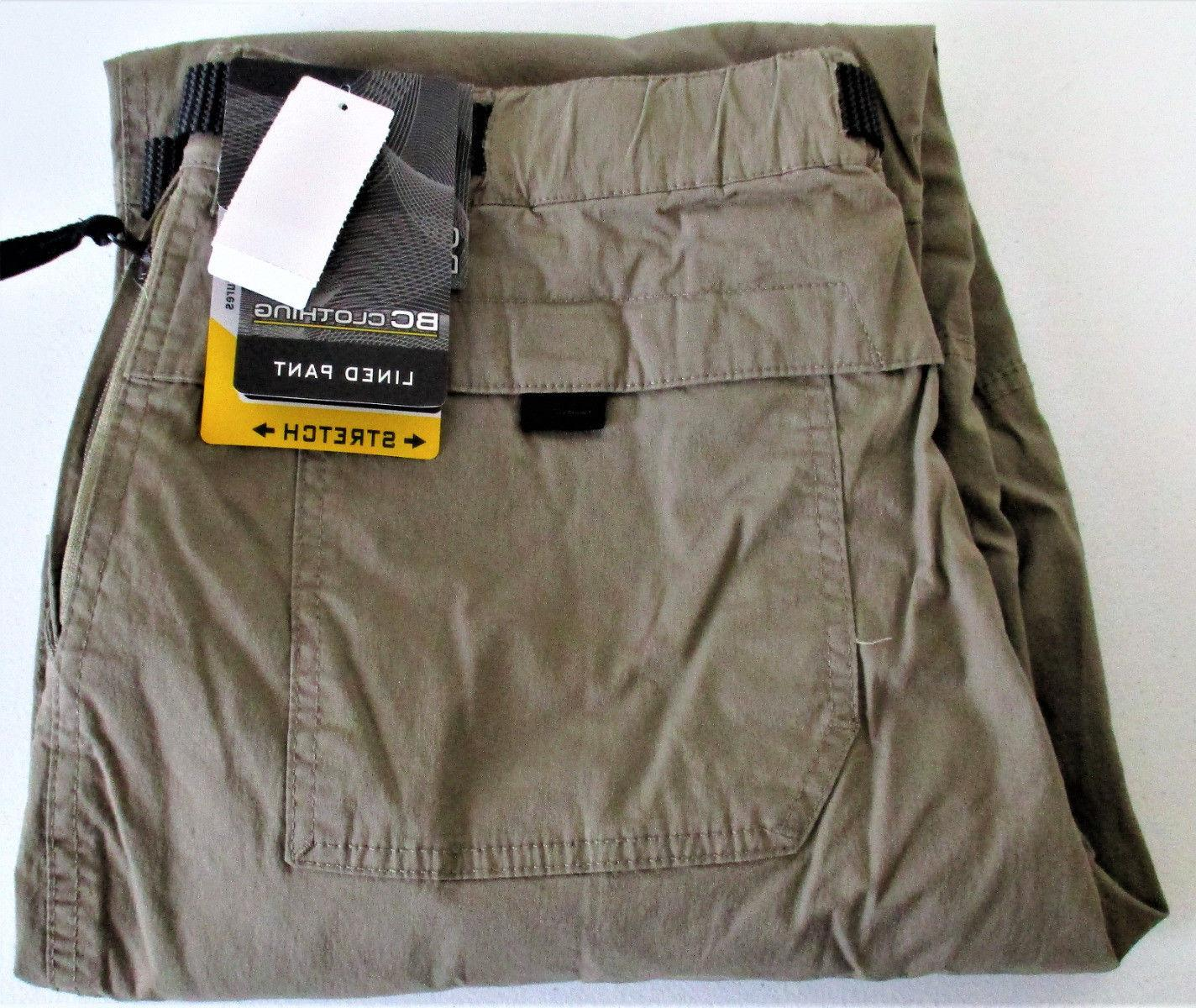 BC Clothing Men's Lined Adjustable Belted Cargo Pant Tan Med