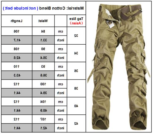 Mens Camo Cargo Work Pants Tactical Pockets Loose Trousers
