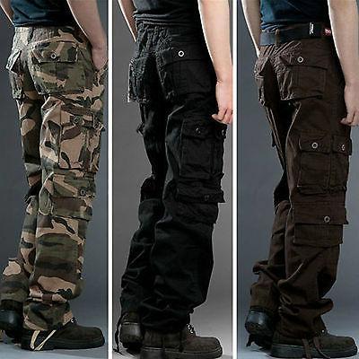 mens camo cargo combat work pants military
