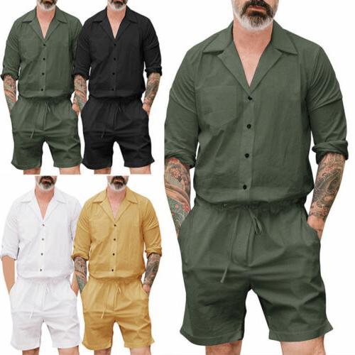Men's Short Cargo Pants Jumpsuit