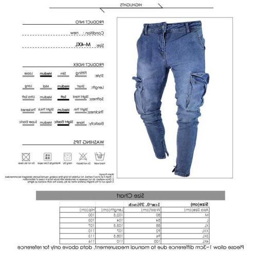 Men's Destroyed Frayed Slim Denim Cargo Pants