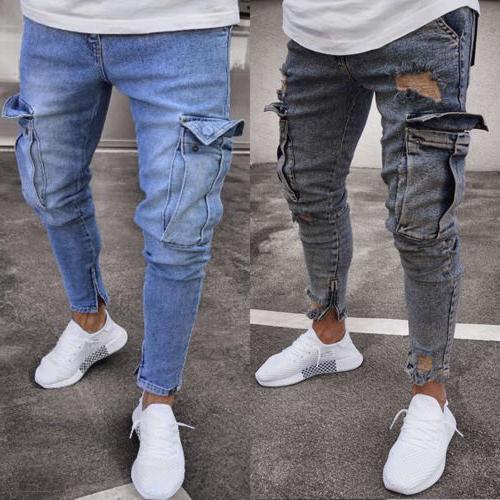 Men's Jeans Destroyed Frayed Slim Denim Cargo Pants