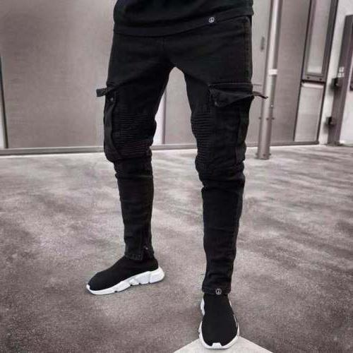 Men's Ripped Skinny Destroyed Denim Cargo Pants Trousers