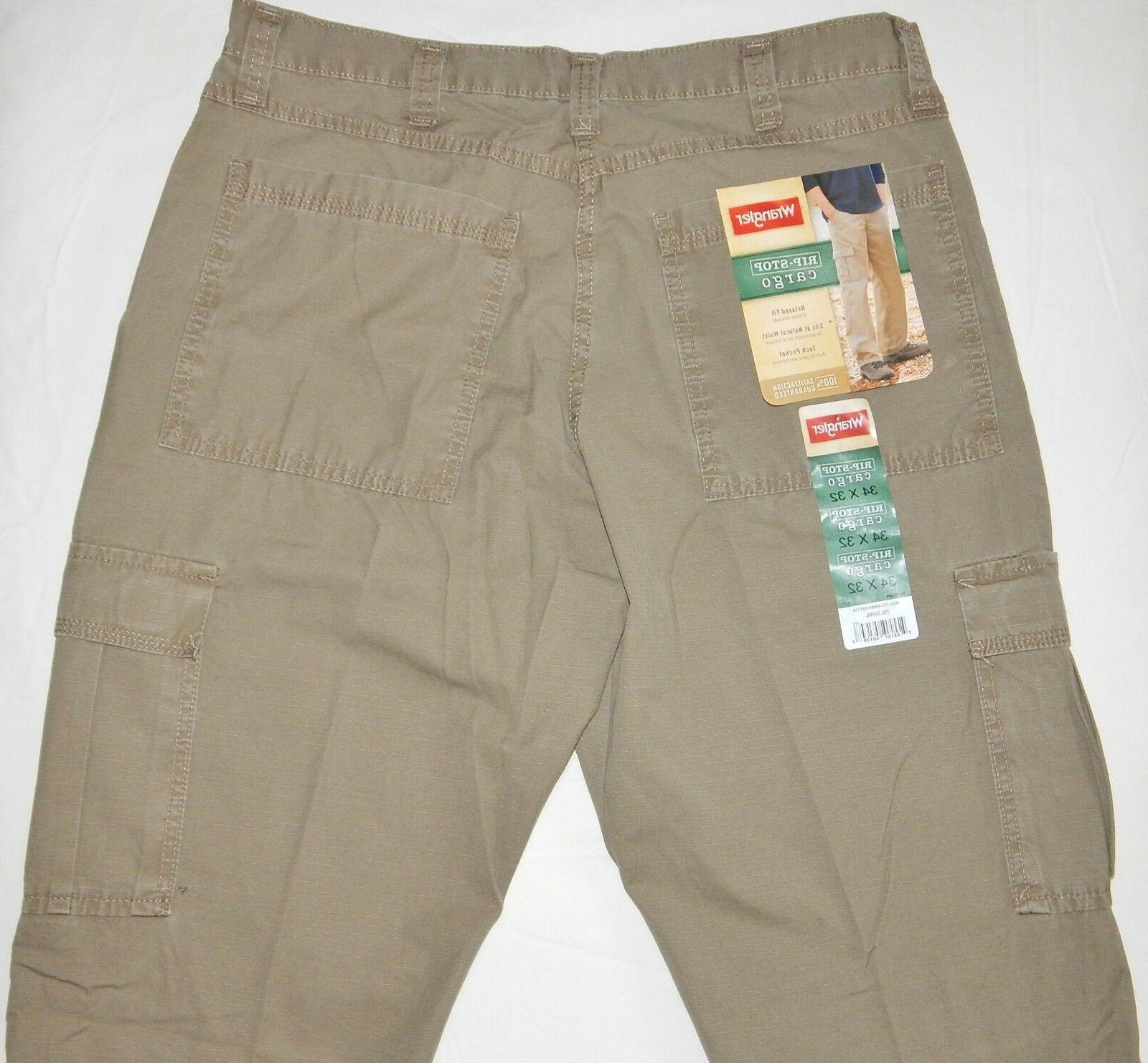 Men's RipStop Cargo Pants Khaki Relaxed Fit Tech