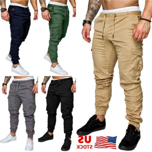 New Mens Slim Fit Urban Straight Leg Trousers Casual Pencil Jogger Cargo Pant EE