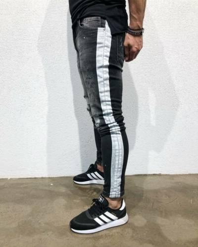 Men's Stretchy Ripped Biker Jeans Destroyed Taped Patch Denim