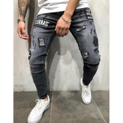 Men's Ripped Skinny Biker Jeans Destroyed Patch Denim Pants