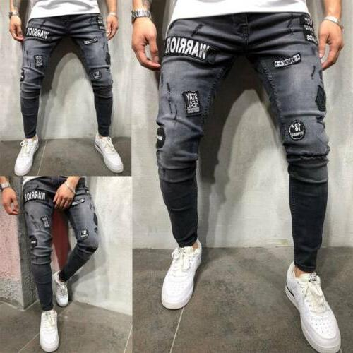 Men's Stretchy Biker Jeans Destroyed Patch Pants