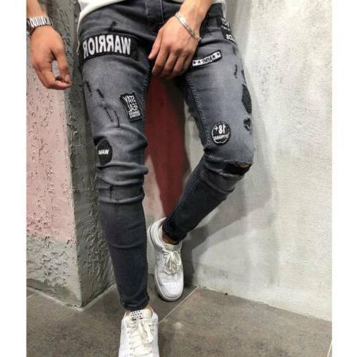 Men's Stretchy Biker Jeans Destroyed Patch