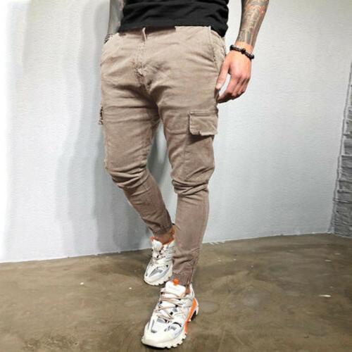 Men's Zipper Pants Straight Skinny Fit Casual