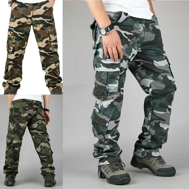Men Camo Cargo Long Camouflage Army Military Work Trousers