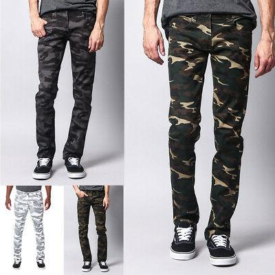 mens army military camouflage skinny fit jeans