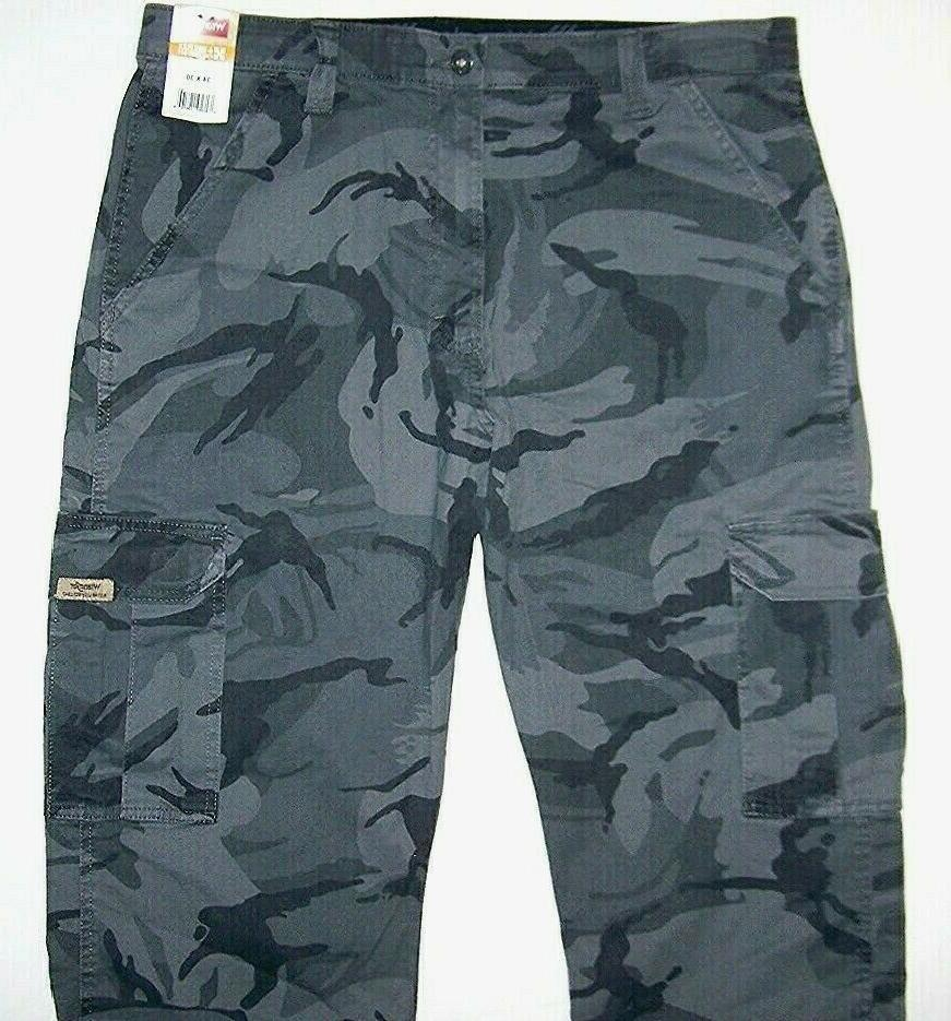 Mens Wrangler Camo Flex Cargo Tech Pocket 38 40 46