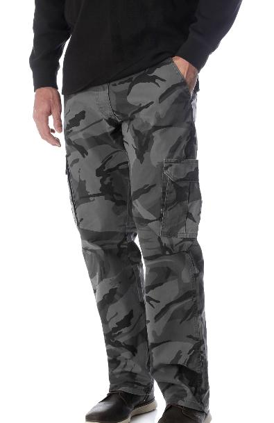 Mens Wrangler Camo Cargo Pants Fit Tech 34 46