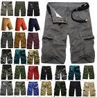 Mens Cargo Pants Shorts Summer Casual Military Camo Combat A