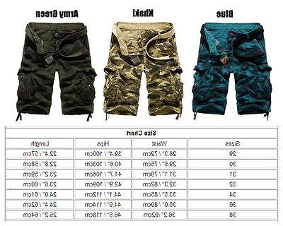 Mens Cargo Shorts Army Combat Camo Pants Summer Casual