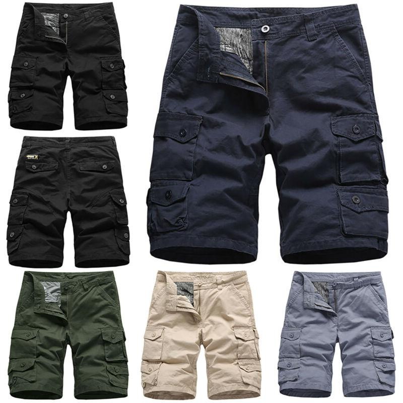 Mens Army Cargo Combat Short Pants Casual Trousers