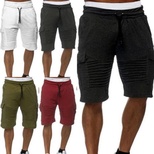 Mens Shorts Pants Casual Beach Gym Trousers Elastic