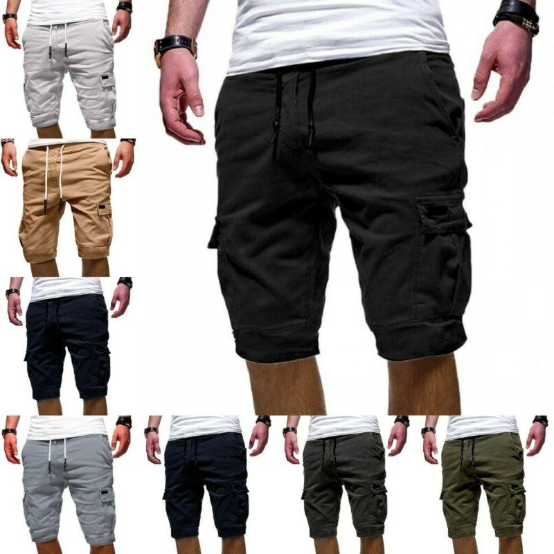 mens cargo shorts pants summer jogger sport