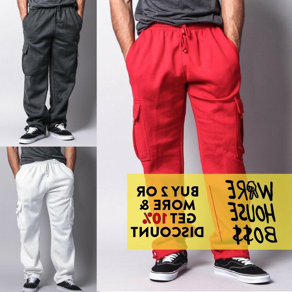 mens casual cargo sweatpants fleece cargo pants
