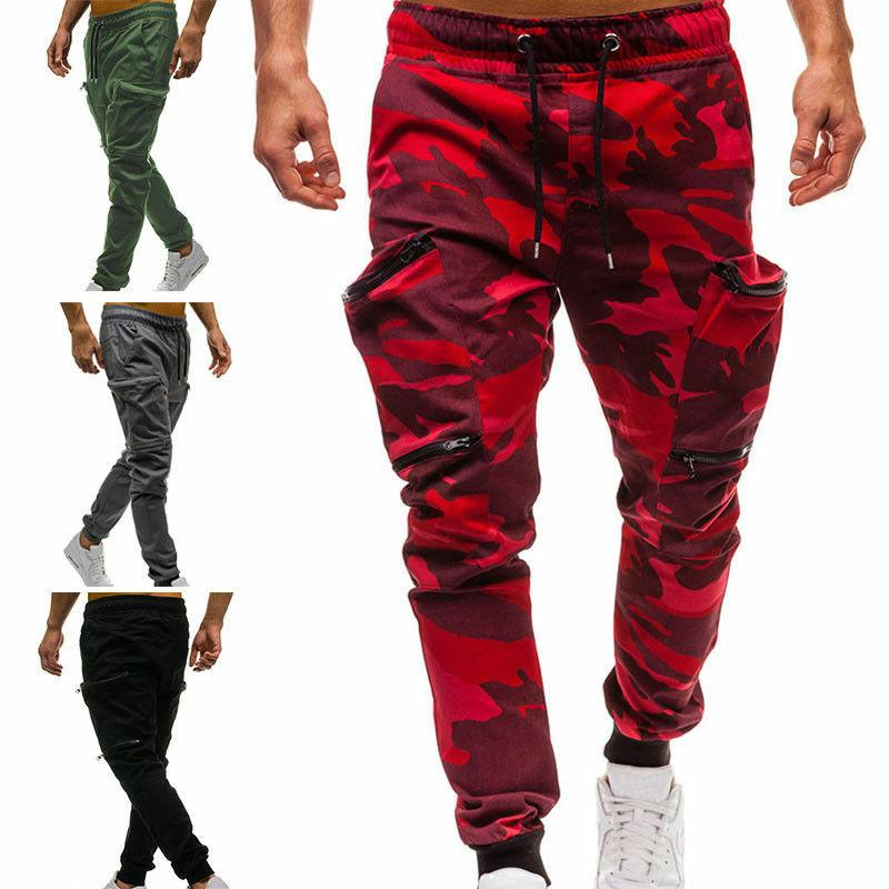 Men's Casual Camo Cargo Army Pants Run Harem Joggers Sports