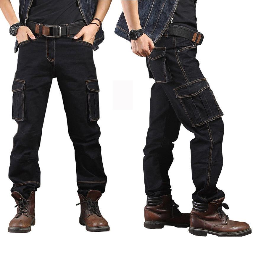 Mens Jeans Casual Cargo Combat Pants Trousers Pockets