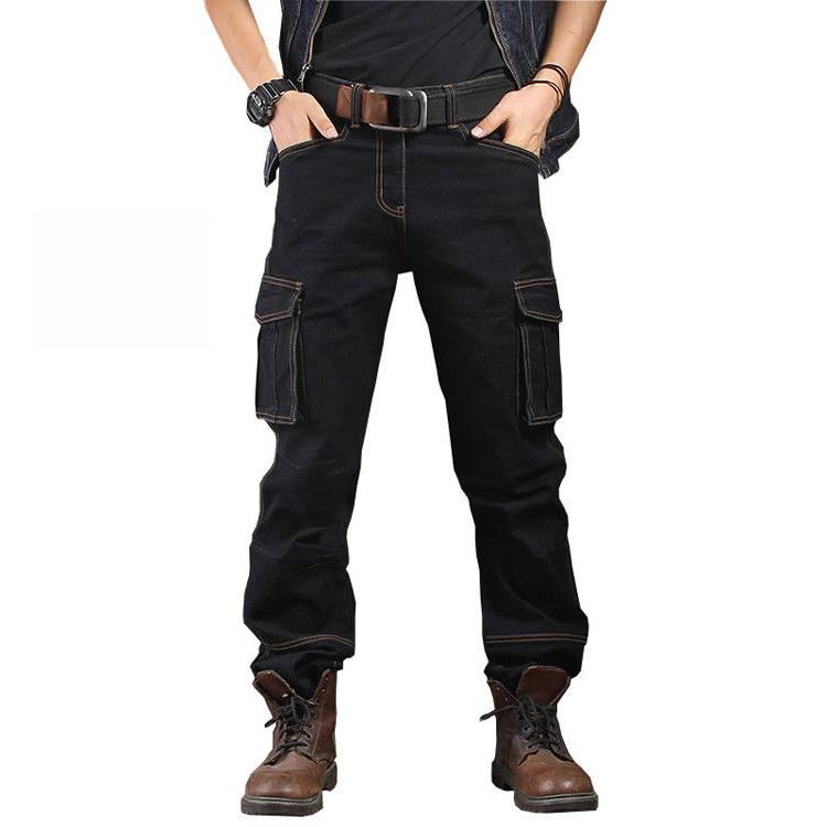 Mens Jeans Denim Pant Casual Cargo Work Pants Tactical Trousers