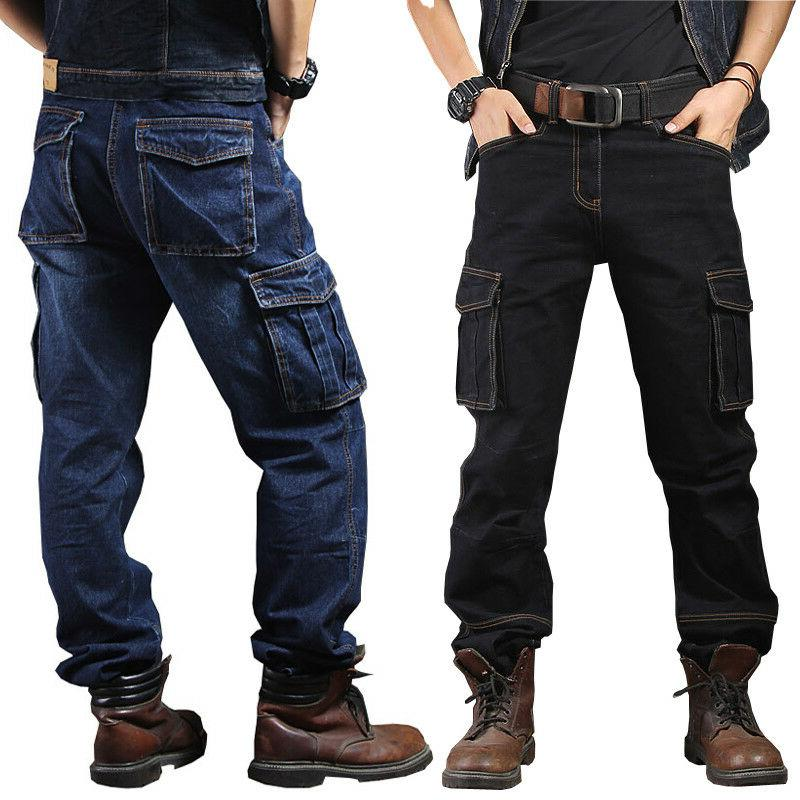 mens jeans denim pant casual cargo combat