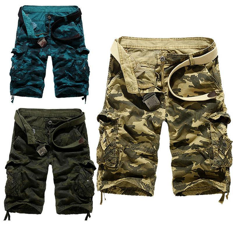 Mens Military Army Camo Cargo Summer Casual Work Pants Trousers