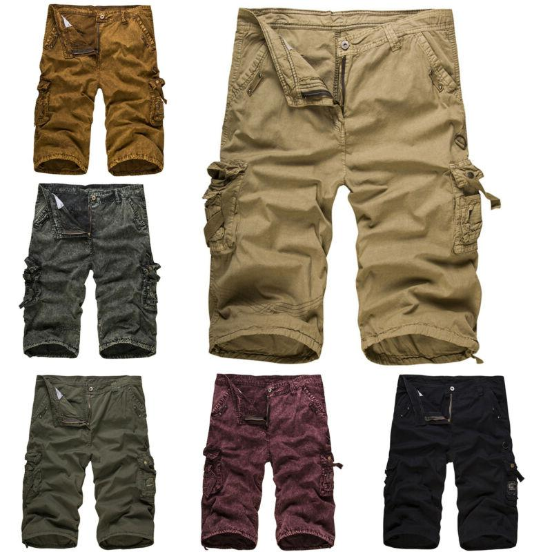 Mens Army Cargo Shorts Summer Casual Work