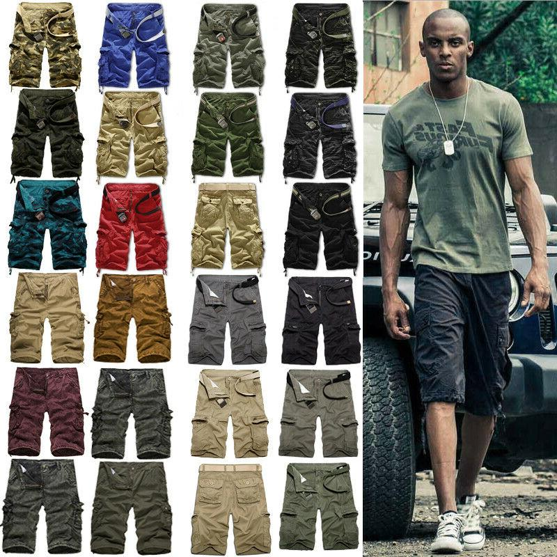 mens military army camo cargo shorts summer