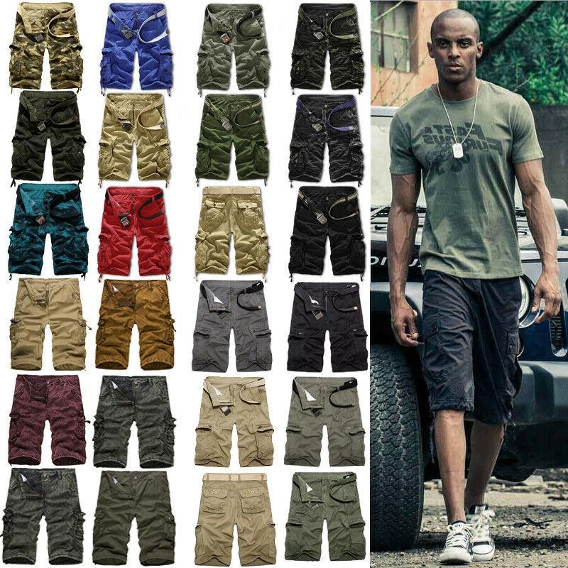 mens military army camo cargo shorts summer