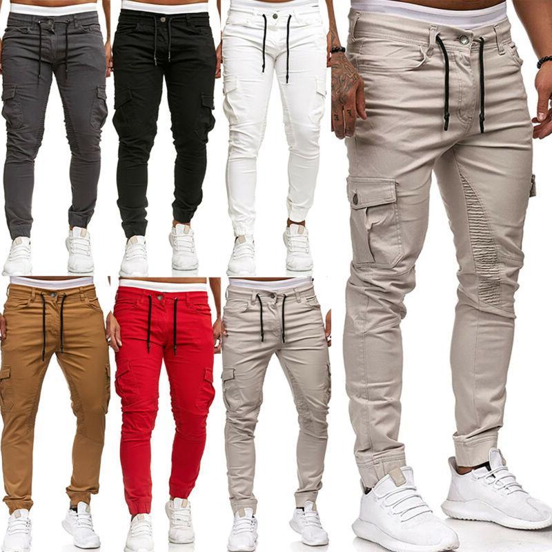 Mens Gym Slim Fit Joggers Combat Trousers Skinny Long Cargo