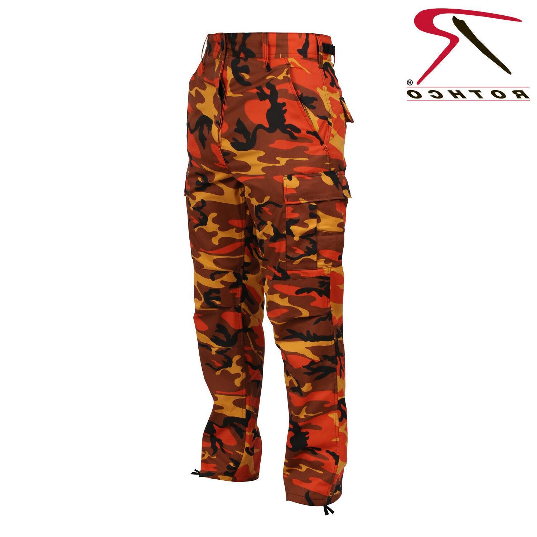 ORANGE CAMOFLAGE MEN ROTHCO BDU Pants Savage Orange Camo Mil