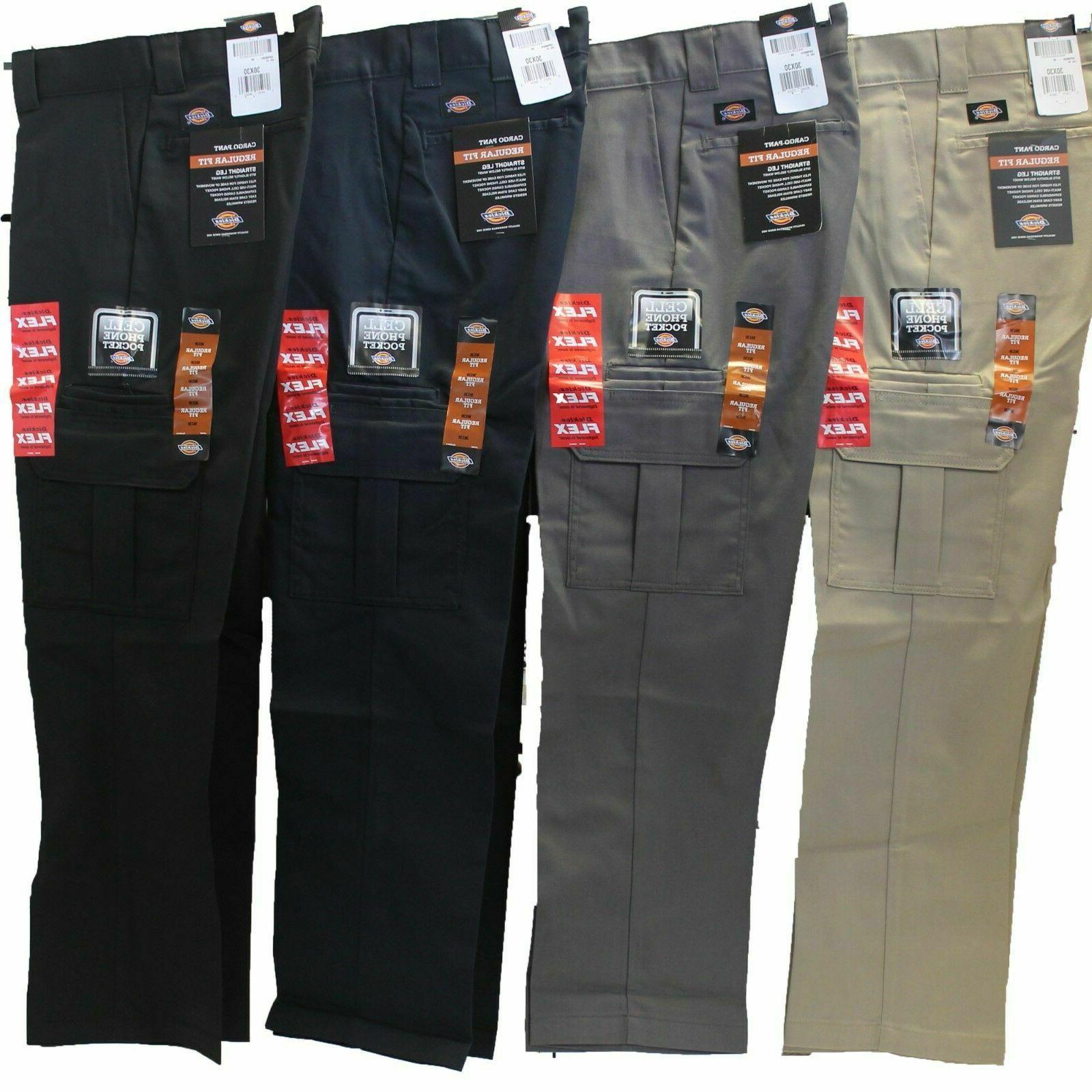 Dickies Mens Regular Fit Straight Work Cargo Stretch Twill Pants