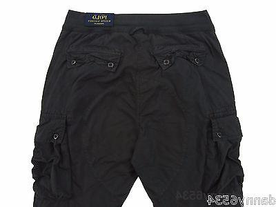 Mens STRAIGHT FIT FULLY LINED Utility Cargo Black Pants