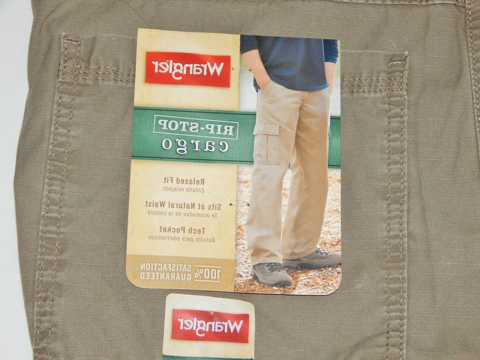 Mens Rip-Stop Cargo Pants SIZES Relaxed Fit Tech Pocket